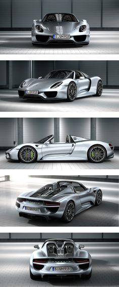 Porsche 918 spider powered by an electrical engine pushing out 178 hp and a petrol v8 pushing over 800 hp at 70 mpg. A pioneer in the hypercar class, an innovative and engineering masterpiece.