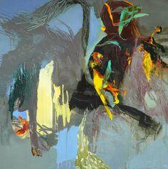 Moris GONTARD, Surgissement, 100 x 100 cm, huile et acrylique sur toile. http://www.galeriealaindaudet.fr/moris-gontard/
