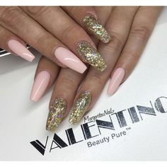 Nude pink and gold glitter coffin nails ByMargaritasNailz