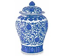 """BIG SIZE! 17x12"""" Ming China Vase Ginger Jar Blue and White Flower Floral Art Print Watercolor Painting"""