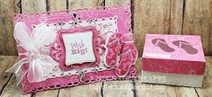 Card and box featuring Spellbinders and K Andrew Designs Sweet July stamp set. http://indymermaid.blogspot.com