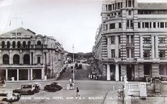A Picture Post Card depicting the Grand Oriental Hotel (GOH) on the right, Mackinnon Mackenzie & Company (Shipping) Ltd., (earlier P&O building) on the left, looking towards current Hilton Colombo along Yok Street as seen from the side of Colombo Harbour (with Leyden Bastian Rd & Church street on the foreground left & right respctively)