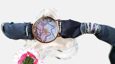Womens Fashion World Map Watch with Grey by HARMONYHOURWATCHES