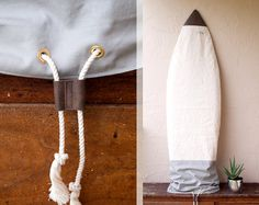 Canvas Surfboard Bag Surf Sock Grey Gray Natural Board Bag by Chapman at Sea