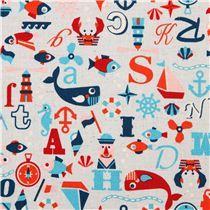 light blue sailor ABC Canvas fabric Kokka Japan