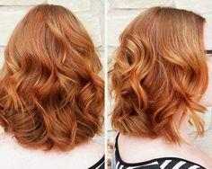 light copper wavy medium hairstyle