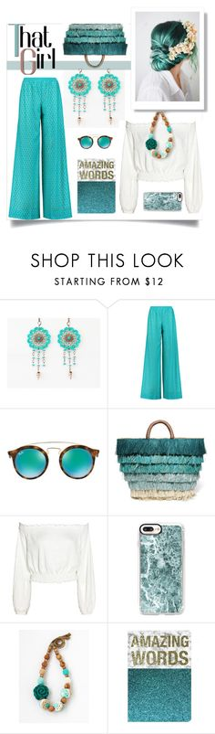 """A girl in teal"" by crochetnecklaces ❤ liked on Polyvore featuring Missoni, Ray-Ban, Kayu and Casetify"