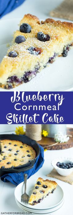 Blueberry Cornmeal Skillet Cake - Gather for Bread Healthy Dessert Recipes, Sweet Desserts, Smoothie Recipes, Sweet Recipes, Delicious Desserts, Yummy Food, Yummy Eats, Yummy Recipes, Cornmeal Recipes