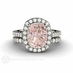 Morganite Cushion Halo Ring Morganite Bridal Set Morganite Engagement Ring & Wedding Band 14K or 18K Gold Peach Stone Ring by RareEarth on Etsy https://www.etsy.com/listing/222015473/morganite-cushion-halo-ring-morganite