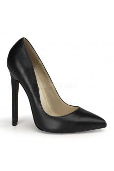 1613fbb22bb47a Black Faux Leather Single Sole Pump Heels Heel Shoes online store  sales Stiletto Heel Shoes