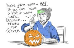 sketchinfun: Fast break sketch since jacksepticeye's Jack-o-Lantern video was gold. :D  therealjacksepticeye: Pumpkin science with jack :D