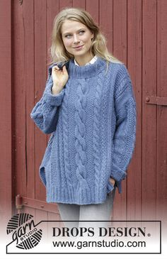 Midnight Cables - Pull au tricot, avec torsades, point ajouré et fentes côtés. Du S au XXXL. Se tricote en DROPS Air. Modèle tricot femme gratuit DROPS 184-12