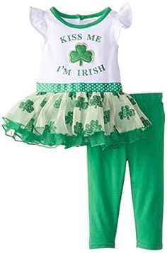 Youngland Baby Girls 'Kiss ME I' m irlandés Applique Legging Set…