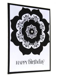 Black and White Designer Birthday Card Embellished with Pearl Center | cardsbylibe - Cards on ArtFire
