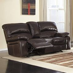 Ashley Damacio Leather Glider Reclining Loveseat in Dark Brown -- You can get more details by clicking on the image. (This is an affiliate link)