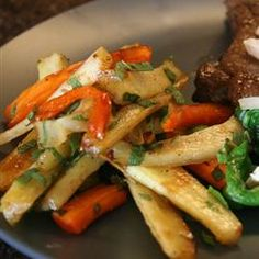 """Roastd Parsnips with Mint and Sage 