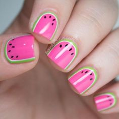 Try not to take a bite into your nails when you're wearing this adorably juicy watermelon mani! #nailart #watermelonnails