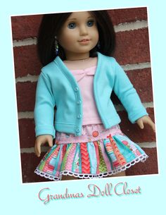 American girl doll clothes, 18 inch doll clothes, AG style doll clothes, 3 piece outfit including skirt, camisol, and cardigan by GrandmasDollCloset on Etsy