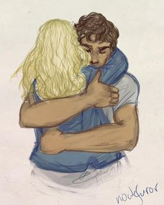 """Now, there's something I thought I'd never see"" bellarke hug fanart"
