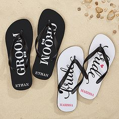 """These Personalized Bride and Groom """"Just Married"""" Flip Flops are so cute! They make a great wedding gift for the honeymoon!"""