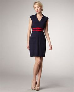 Nanette Lepore Sweater Dress   navy with red bands