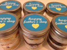 Cupcakes In A Jar-Mason Jars-Happy Father's Day-Gifts for Dad-Blue-Yellow-I Love Dad