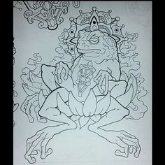 This guy is from the same flash sheet #tattoo #tattoos #art #design #illustration #frog #animal #lotus #mutant #transcend #mandala #mandalatattoo #meditation #toad #luck #lucky #easternreligion #treeoflife #kaballah #buddism #religion #nature #pollution #mysticism #esoteric #robpawlewski #robertpawlewski #buffalonewyork #deadmanshandtattoo