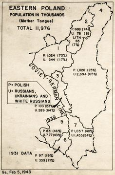 Ethnic map of Eastern Poland, 1943