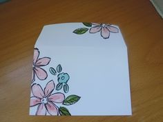 hand decorated envelope to match handmade crd . Homemade Envelopes, Fancy Envelopes, Mail Art Envelopes, Decorated Envelopes, How To Make An Envelope, Diy Envelope, Envelope Punch Board, Envelope Design, Snail Mail Pen Pals