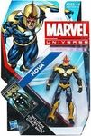 Name: Nova Action Figure Manufacturer: Hasbro Toys Series: Marvel Universe Release Date: February 2013 For ages: 4 and up UPC: 653569708094 Details (Description): This intergalactic hero NOVA figure isready to take on villains, Xandarian-style! This detailed figure looks like the amazing hero, including his combat helmet and armor. Whether you send him into battle or stand him up in your collection, your adventures wont be complete without this NOVA figure