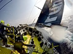 February 12, 2015. Leg 4 to Auckland onboard Team Brunel. Day 4. The team battle with the seemingly never ending strong wind and waves.  Stefan Coppers / Team Brunel / Volvo Ocean Race