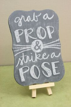 DIY Wedding Photo Booth Sign - plaid folk art chalk paints and mod podge chalkboard