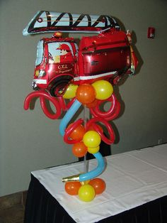 Firehouse Theme Balloon Centerpiece