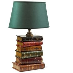 Leather Book Lamp With Geen Oval Shade ($765) ❤ liked on Polyvore featuring home, lighting, green shades, oval lamp shade, green shade, green lamp and oval lampshade