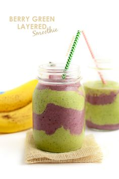 Make this berry green layered smoothie for breakfast or a snack! It's jam packed with fruit and antioxidants and the best part is, you get 2 flavors in one!