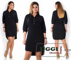 Stylish Woman dress Crepe-Diving 3/4 Sleeve Asymmetrical hem Plus size #Unbranded #AsymmetricalHem #Casual