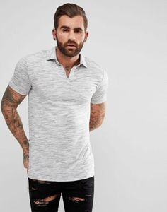 ASOS Revere Polo Shirt In Grey Inject