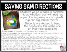 Saving Sam is a great activity for building teamwork in your classroom. Check out the blog post for more great ideas!