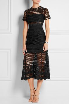 Self-Portrait | Guipure lace midi dress | NET-A-PORTER.COM