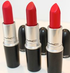 Ruby Woo, Russian Red, MAC Red! My 3 favorite MAC red lipsticks! Love them all! <3
