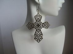 Bronze Medieval Cross Earrings Detailed Filigree by JypsyJewels