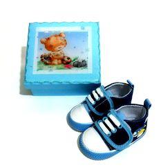 Sapato bebe menino com caixa mdf
