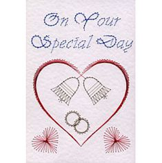 Wedding hearts and bells | Special Occasions patterns at Stitching Cards.