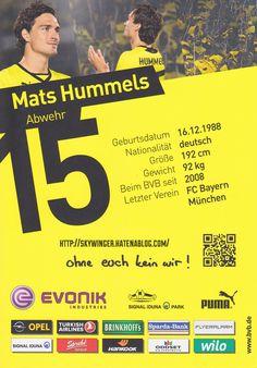 Mats Hummels Borussia Dortmund Autogramm autograph ドルトムント マッツ フンメルス