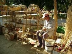 A man is weaving a figure with wicker (mimbre). Craft Markets, Mani, History, Country, Travelling, Landscapes, Universe, People, Handmade