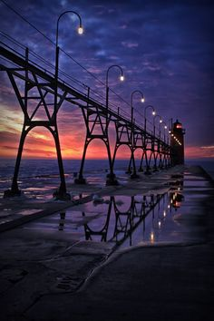 Blue night - Sunsets light house, South Haven, Michigan
