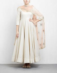 Off White and Peach Anarkali Set Pakistani Fashion Casual, Pakistani Outfits, Indian Outfits, Indian Fashion, Indian Clothes, Emo Fashion, Frock Suit Anarkali, Anarkali Dress Pattern, Stylish Dress Designs