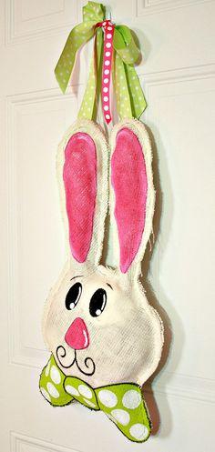 Hand Painted Easter Burlap Bunny Rabbit Door / Wall Hanger Decoration HUGE 2 ft  - Spring. $35.00, via Etsy.