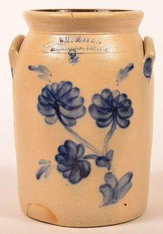 "Sold $1,300 Wm. Moyer Harrisburg, PA 2 Gallon Stoneware Pottery Crock with Cobalt Blue Floral Slip Decoration. 12"" high. Condition: Very good."