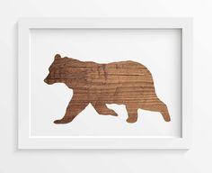 Rustic Wood Bear print, Bear wall art, Rustic home decor, Woodland wall art, Wood art prints, Gift print, INSTANT DOWNLOAD, Bear print, Bear by saltstudioprints on Etsy
